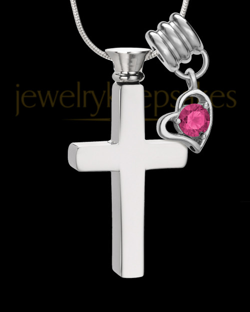 Stainless Cremains Locket October Memorable Cross - Eternity Collection