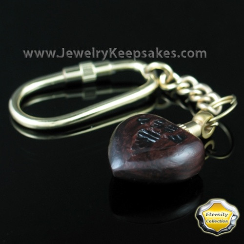 Cremation Ash Jewelry Wood Pawed Heart Keychain - Eternity Collection