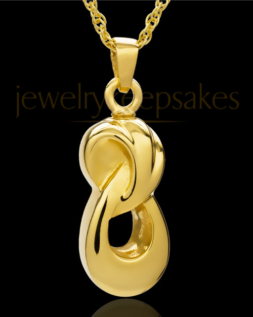 Cremation Ash Necklace  Gold Plated Infinity Companion Pendant - 2 Person