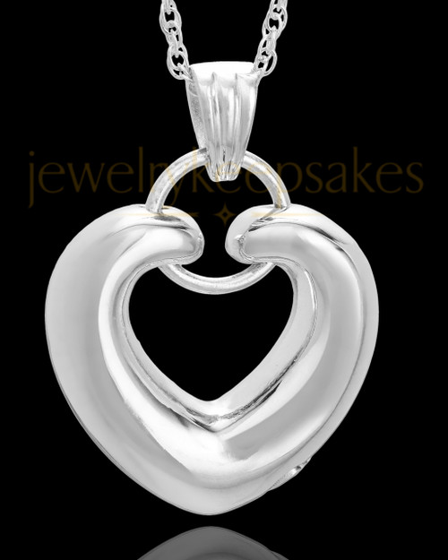 Cremation Keepsake 14K White Gold Loyalty Heart