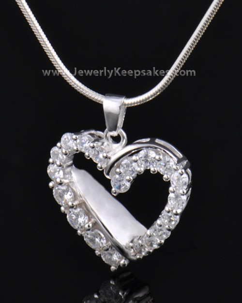 Cremation Urn Pendant Sterling Silver Glimmer Heart