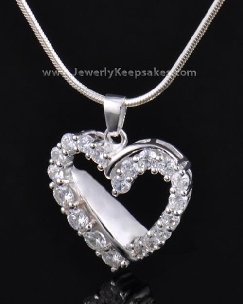 Cremation Urn Pendant Sterling Silver Glimmer Heart