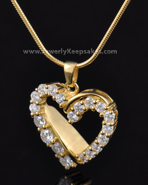 Cremation Urn Pendant Gold Plated Glimmer Heart