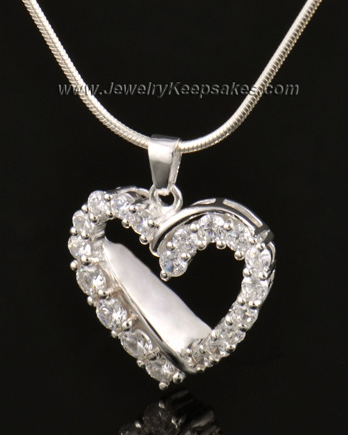 Cremation Urn Pendant 14K White Gold Glimmer Heart