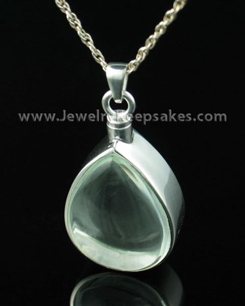 Cremains Pendant Sterling Silver and Glass Tearful Necklace