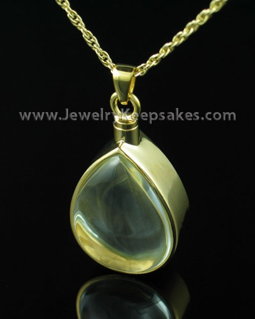 Cremation Pendant Gold Vermeil Tearful Necklace