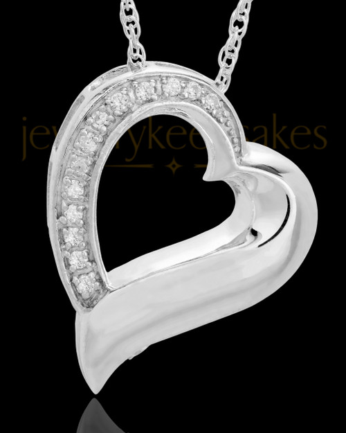Memorial Pendant 14K White Gold Passion Heart