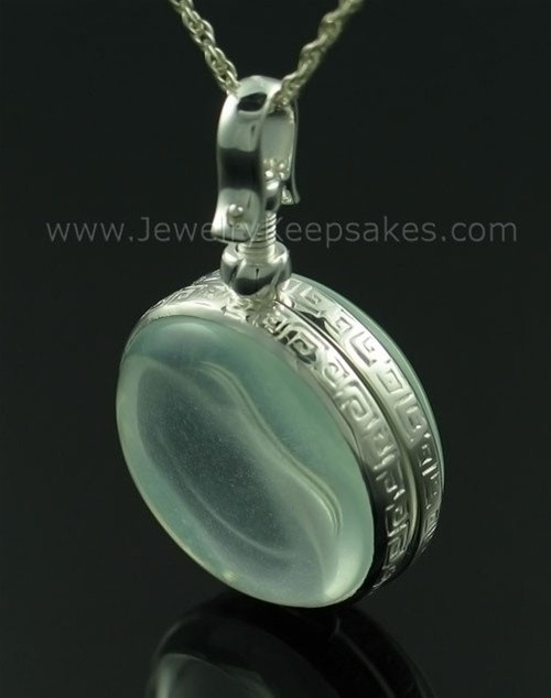 Keepsake Jewelry Round Sterling Silver and Glass Pendant
