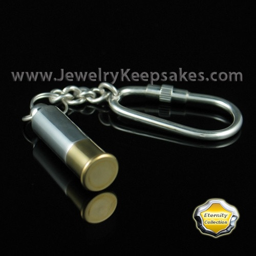 Jewelry Urn Silver Plated Shotgun Shell Keychain - Eternity Collection