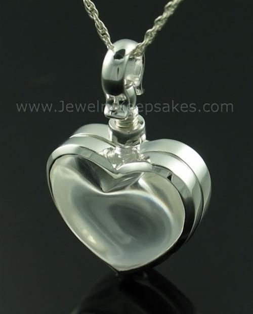 Memorial Pendant Sterling Silver Glassy Heart