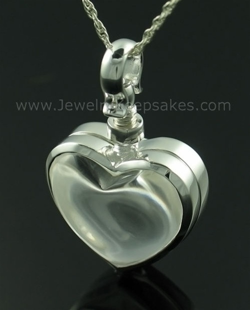 Memorial Pendant Sterling Silver Glassy Heart