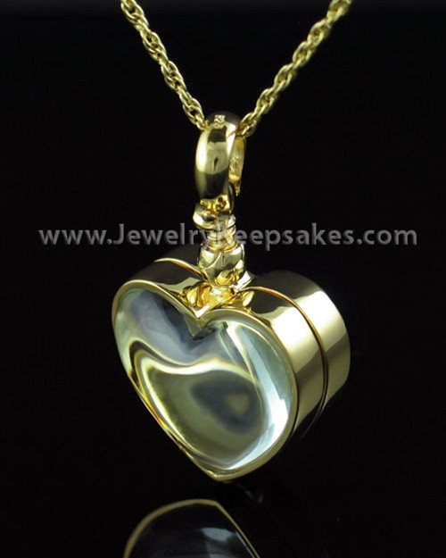 Memorial Pendant Gold Vermeil Glassy Heart