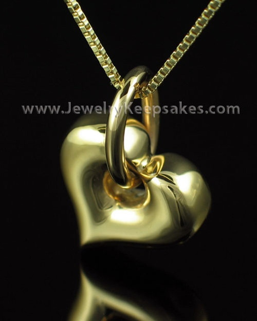 Necklace Urn Gold Vermeil Dangle Heart