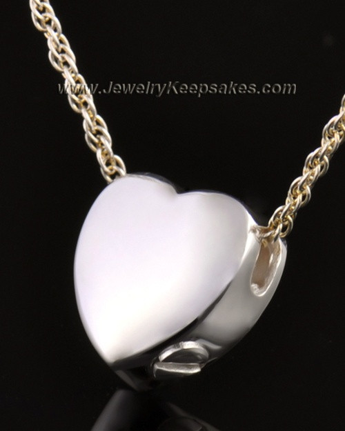14k White Gold Remembrance Pendant Commitment Heart - Engravable