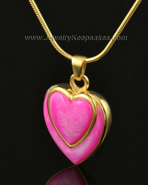 Cremation Locket 14k Gold Burgundy Heart