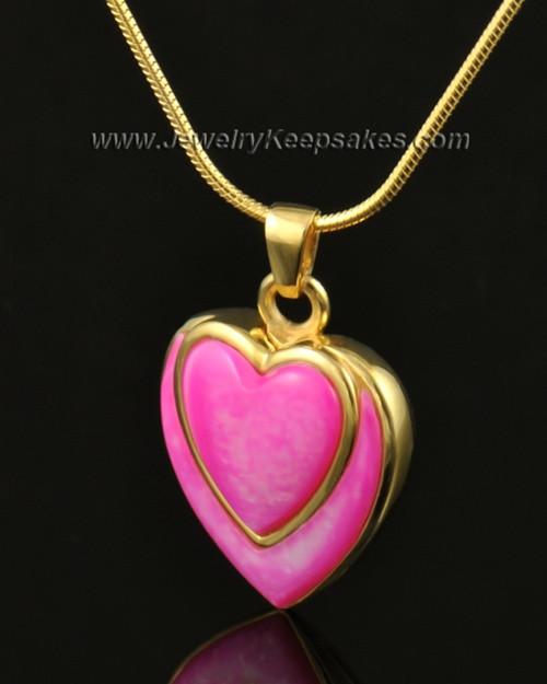 Cremation Locket 14k Gold Burgundy Heart