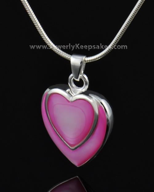 Cremation Locket Sterling Silver Burgundy Heart-Engravable