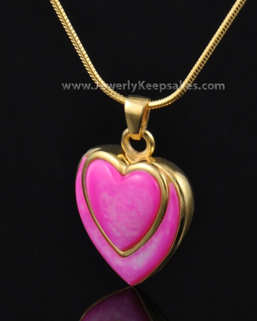 Cremation Locket Gold Plated Burgundy Heart-Engravable