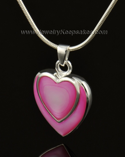 Cremation Locket 14k White Gold Burgundy Heart-Engravable
