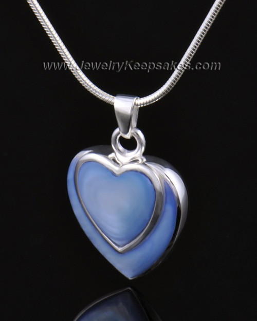 Ash Pendant 14k White Gold Azure Heart-Engravable