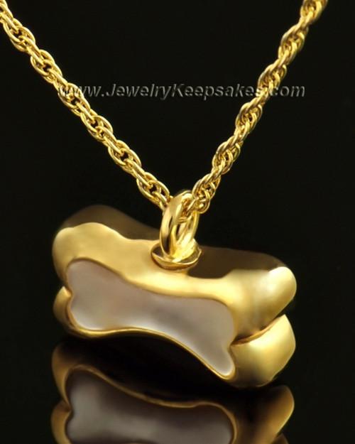 14k Gold Pet Memorial Pendant Milky Bone - Engravable