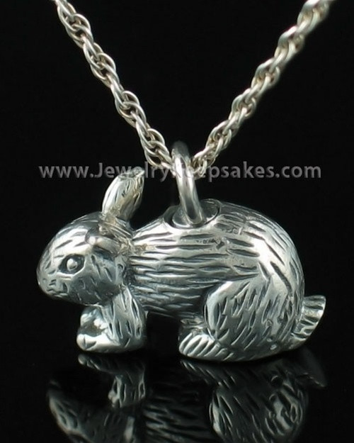 Cremation Keepsake Angora Bunny Rabbit Sterling Silver