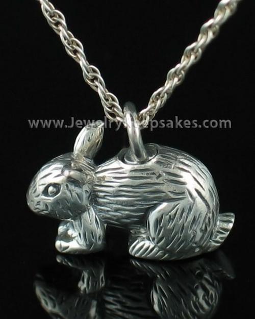 Cremation Keepsake Angora Bunny Rabbit Sterling Silver
