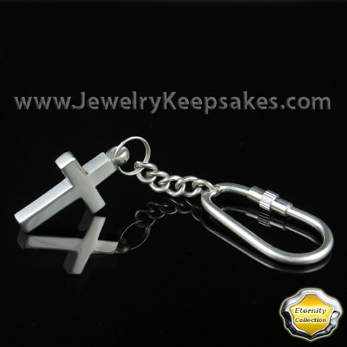 Cremains Keepsake Memorable Stainless Cross Keychain - Eternity Collection