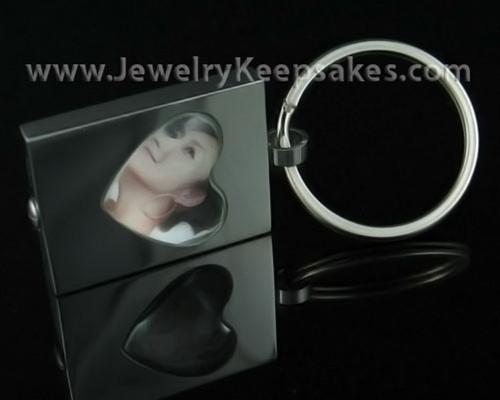 Ash Jewelry Stainless Heart Photo Keychain