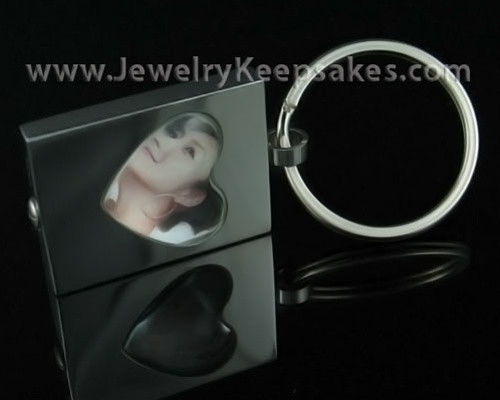 Ash Jewelry Stainless Heart Photo Keychain