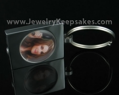 Memorial Keepsake Stainless Round Photo Keychain