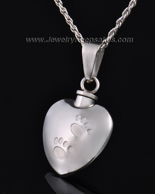 Pet Necklace Urn Stainless Steel Little Paws Heart