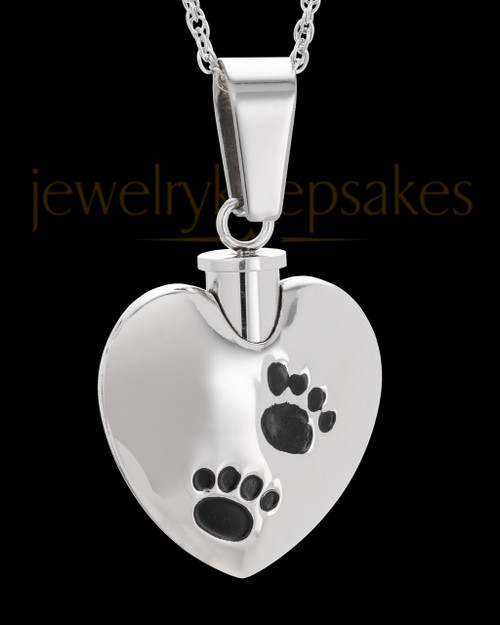 Pet Necklace Urn Stainless Steel and Black Little Paws Heart
