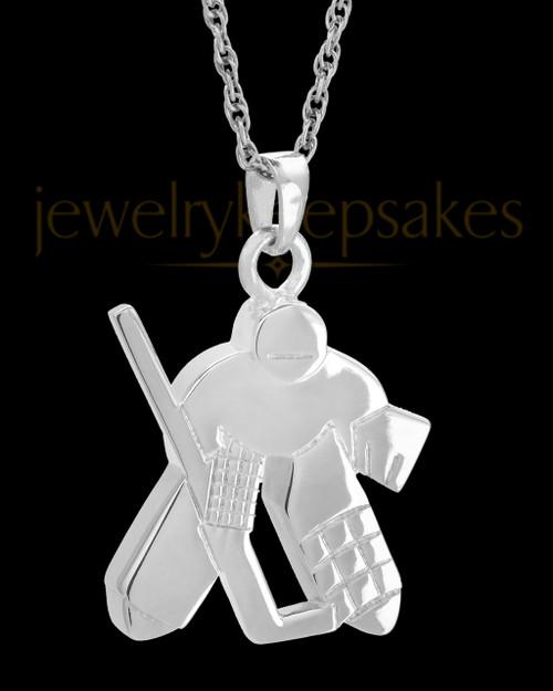 14k White Gold Remembrance Jewelry Ice Hockey Keepsake