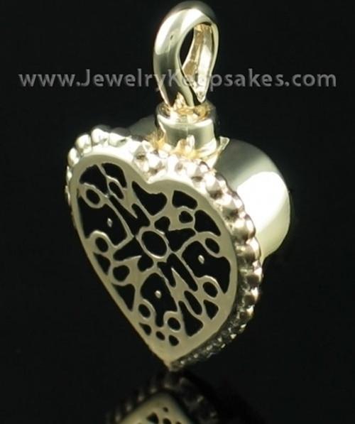 Cremation Pendant Filigree Heart - 14K Gold
