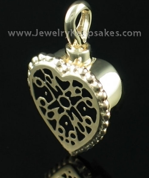 Cremation Pendant Filigree Heart - 14K Gold