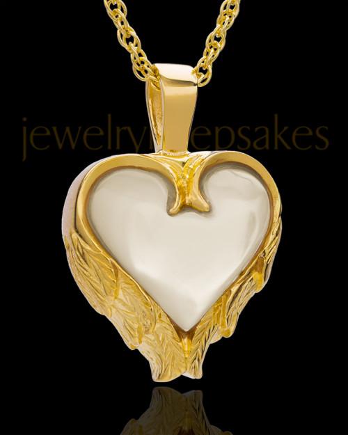 Remembrance Pendant 14k Gold Winged Heart Keepsake