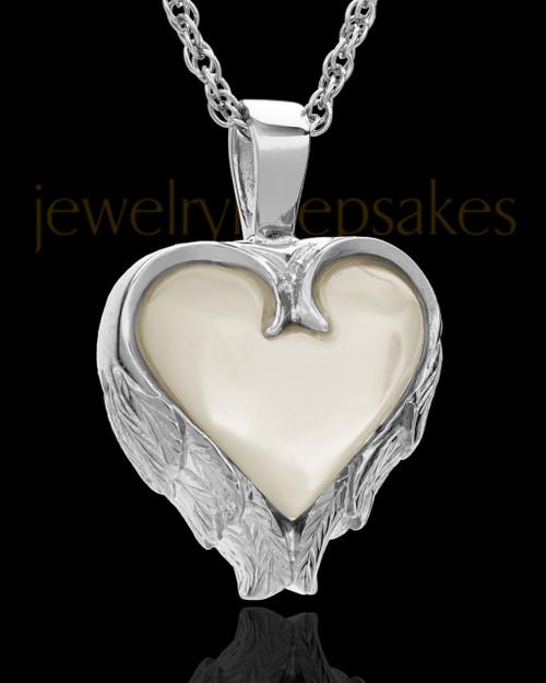 Remembrance Pendant 14k White Gold Winged Heart Keepsake