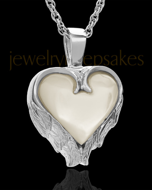 Remembrance Pendant 14k White Gold Winged Heart Keepsake