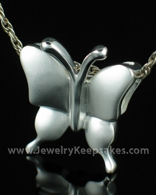 Cremation Necklace Sterling Silver Butterflies Keepsake