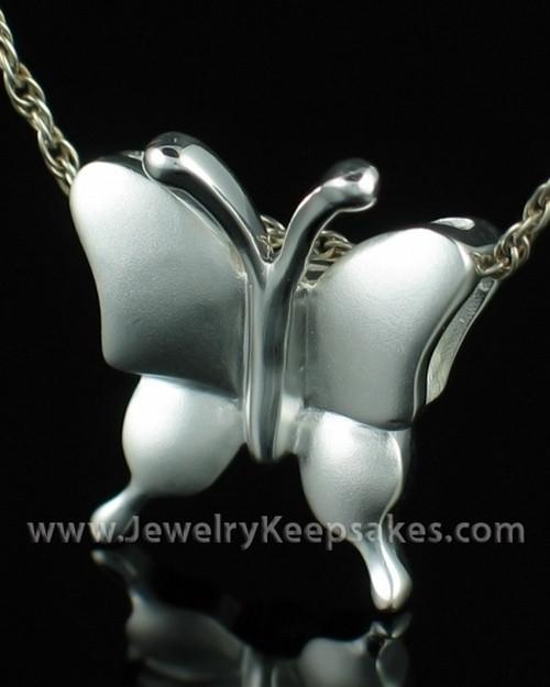 Cremation Necklace Sterling Silver Butterflies Keepsake