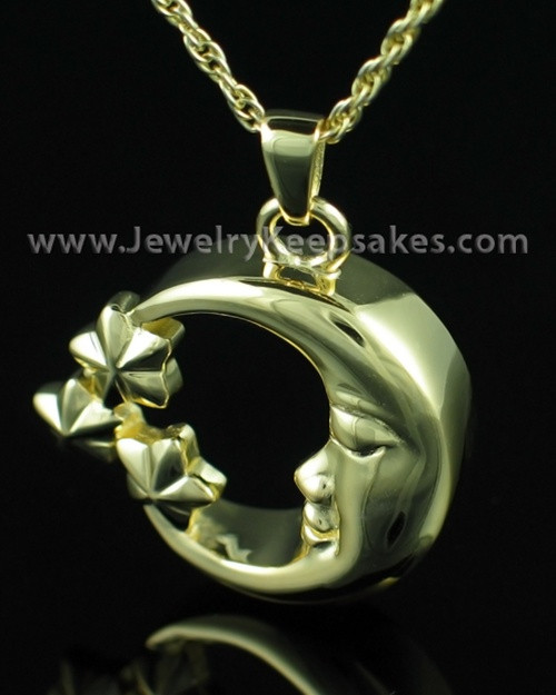 Jewelry Urn Gold Plated Starry Night Keepsake