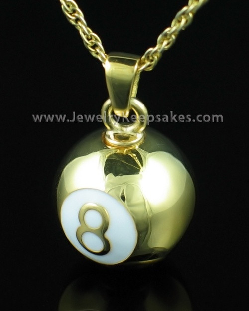 Eight Ball Keepsake Memory Pendant - Gold Plated