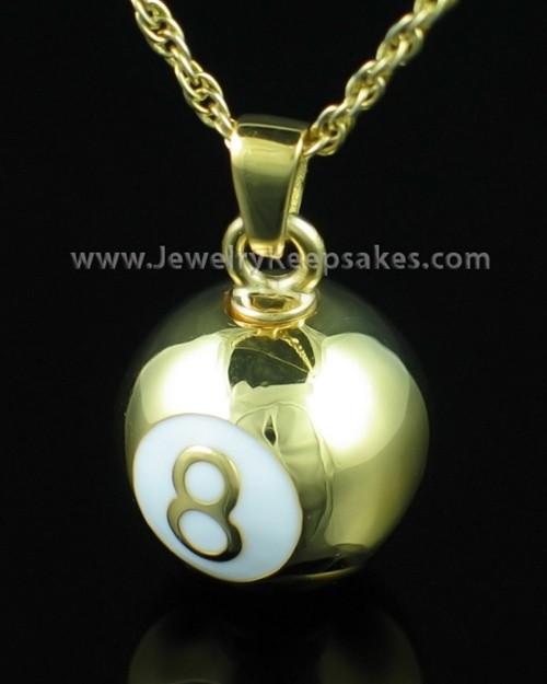 Eight Ball Keepsake Memory Pendant - Gold Plated