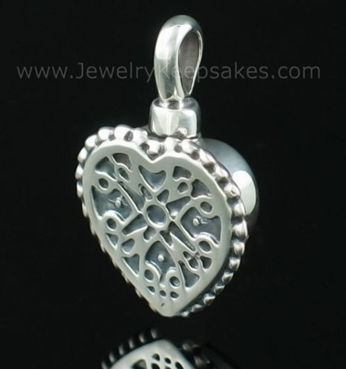 Cremation Pendant Filigree Heart - Sterling Silver