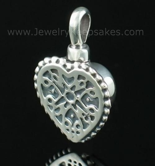 Cremation Pendant Filigree Heart - Sterling Silver