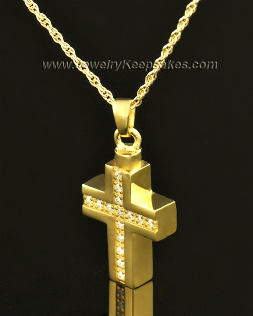 14k Gold Memorial Jewelry Dazzling Cross Keepsake