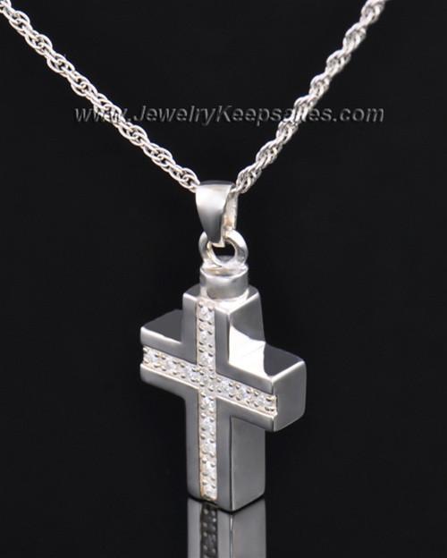 Memorial Jewelry Sterling Silver Dazzling Cross Keepsake