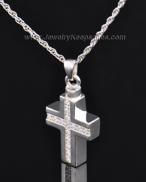 Memorial Jewelry Sterling Silver Dazzling Cross Keepsake