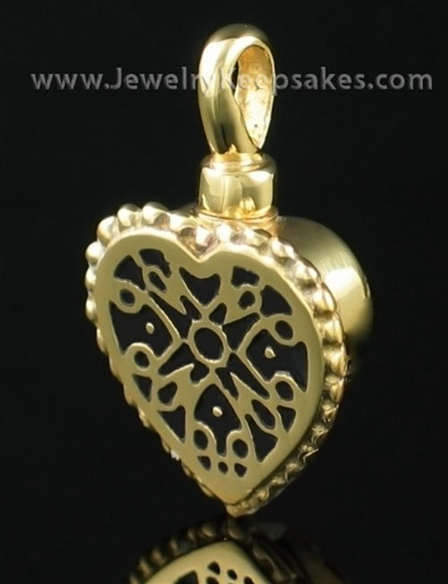 Cremation Pendant Filigree Heart - Gold Plated